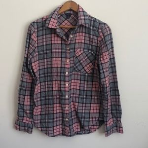 Aeropostale pink plaid button up flannel shirt M
